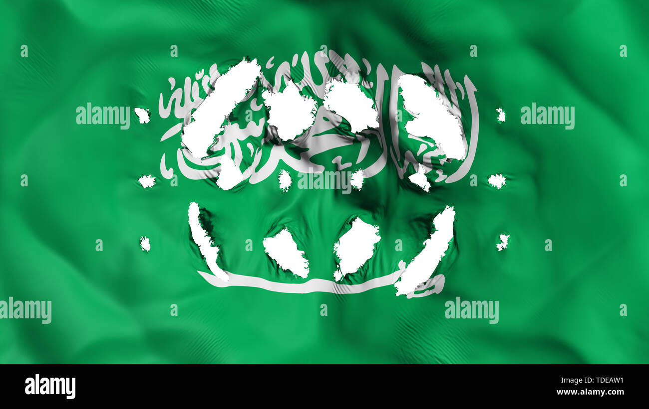 Saudi Arabia flag with a small holes - Stock Image