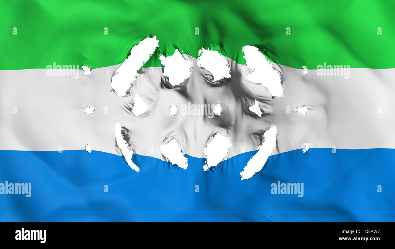 Sierra Leone flag with a small holes - Stock Image