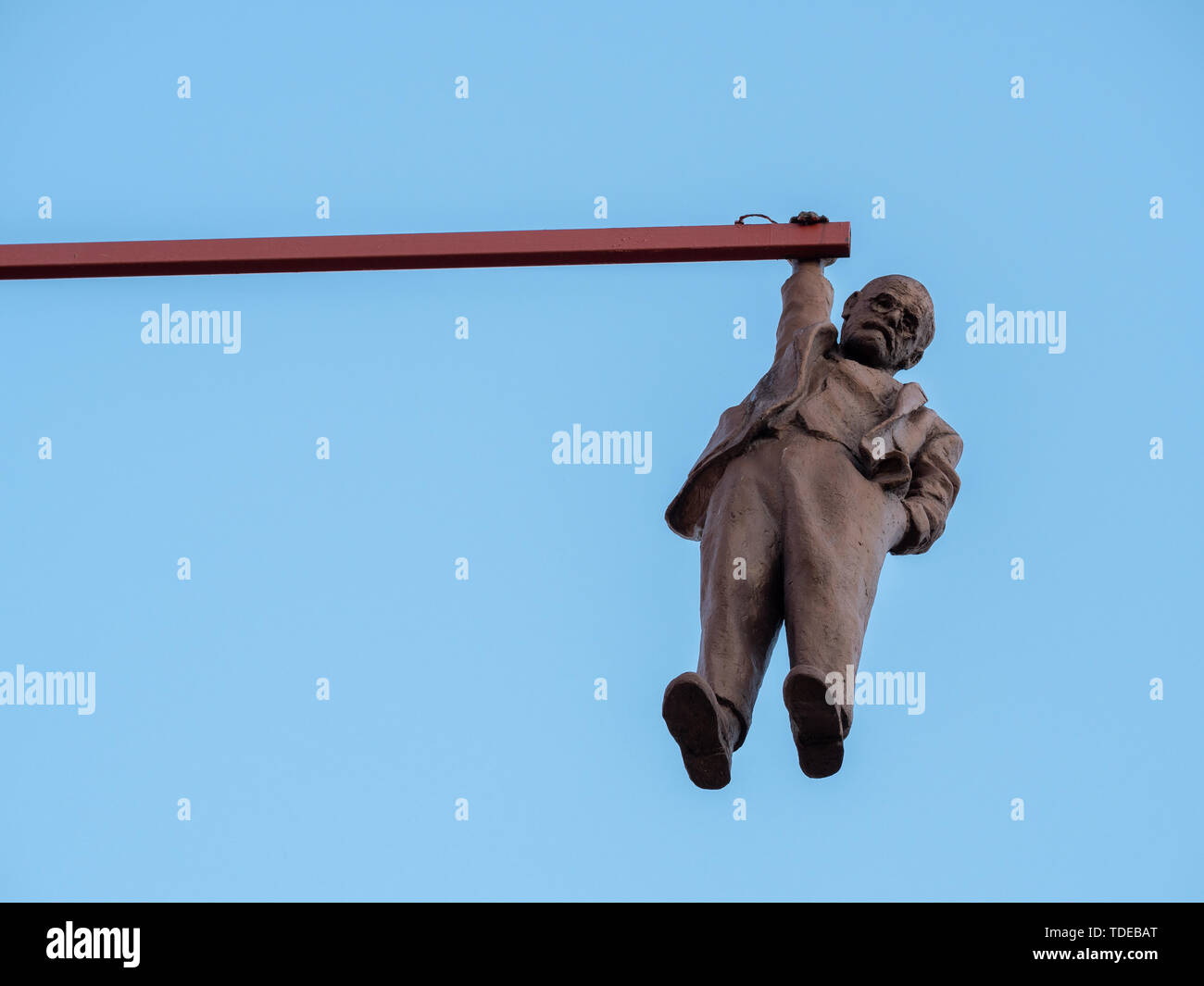 Prague, Czech Republic - June 8 2019: Man Hanging Out, a Funny Statue of Sigmund Freud made by David Cerny in 1996. - Stock Image