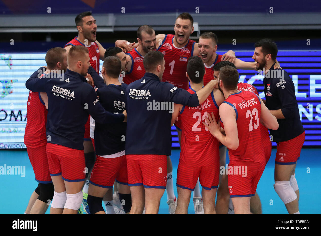 Gondomar, Portugal  14th June, 2019  Serbia's players celebrate