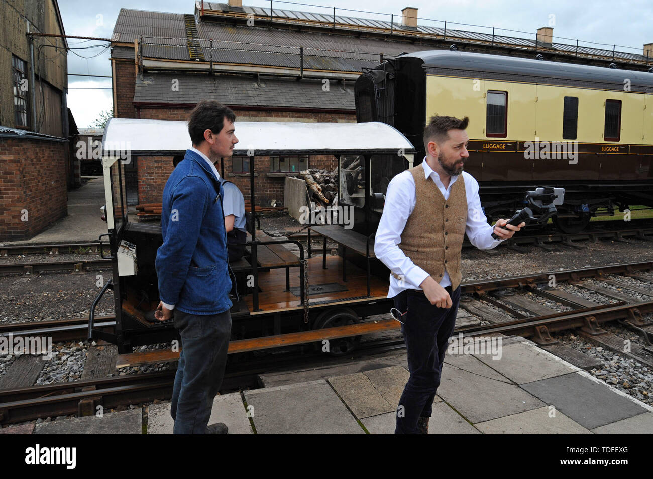 Didcot, UK. 15th June 2019. Broadcaster and rail enthusiast Mr Tim Dunn does a live stream broadcast from Didcot Railway Centre as part of the celebrations for the 175th anniversary of the opening of the Didcot to Oxford railway. G.P. Essex/Alamy Live News - Stock Image