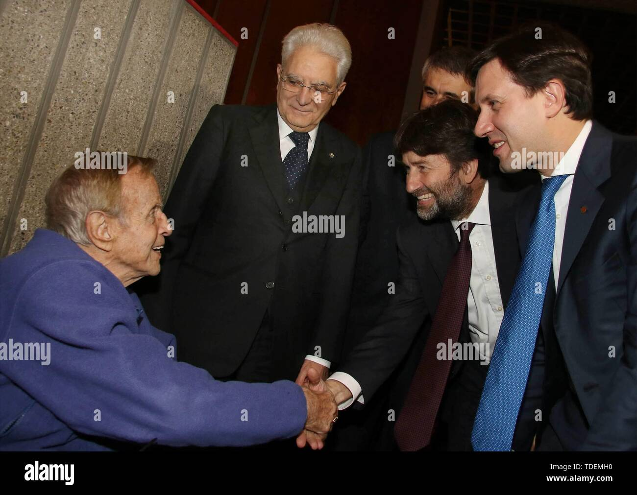 Florence, President Matarella visiting the Nation received from the Riffeser family, present Franco Zeffirelli (Florence/IPA/Fotogramma, - 2016-11-07) ps the photo is usable in respect of the context in which it was taken, and without defamatory intent of the decorum of the persons represented (Firenze/IPA/Fotogramma, Photo Repertoire - 2019-06-15) p.s. la foto e' utilizzabile nel rispetto del contesto in cui e' stata scattata, e senza intento diffamatorio del decoro delle persone rappresentate - Stock Image