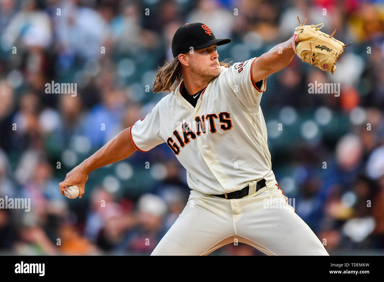 San Francisco, California, USA. 12th June, 2019. San Francisco Giants starting pitcher Shaun Anderson (64) in action during the MLB game between the San Diego Padres and the San Francisco Giants at Oracle Park in San Francisco, California. Chris Brown/CSM/Alamy Live News - Stock Image