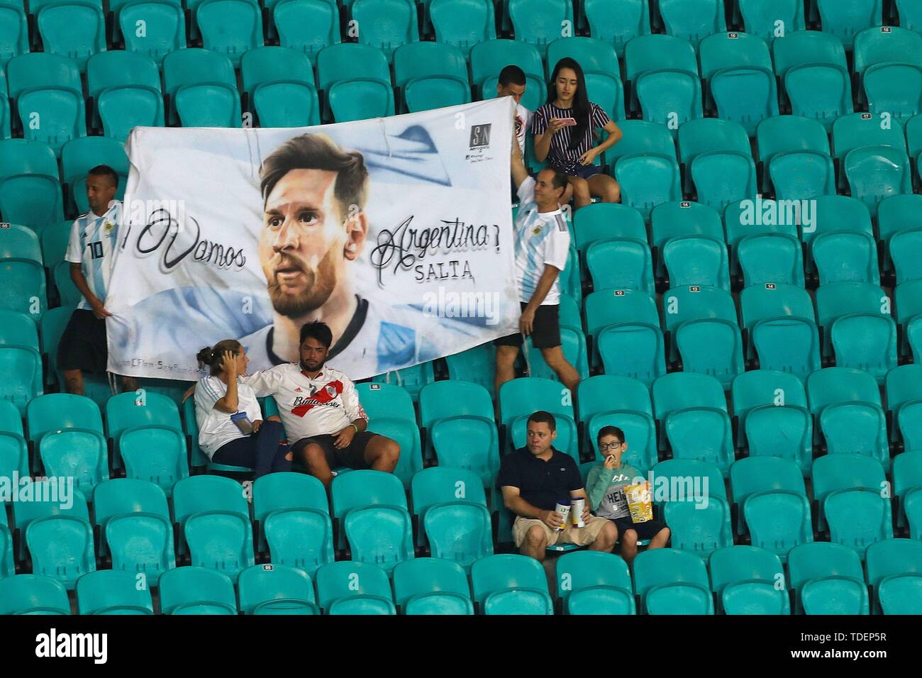 Salvador, Brazil. 15th June, 2019. Argentinian supporters before the Copa America 2019 Group B soccer match between Argentina and Colombia, at Arena Fonte Nova Stadium in Salvador, Brazil, 15 June 2019. Credit: Joedson Alves/EFE/Alamy Live News Stock Photo