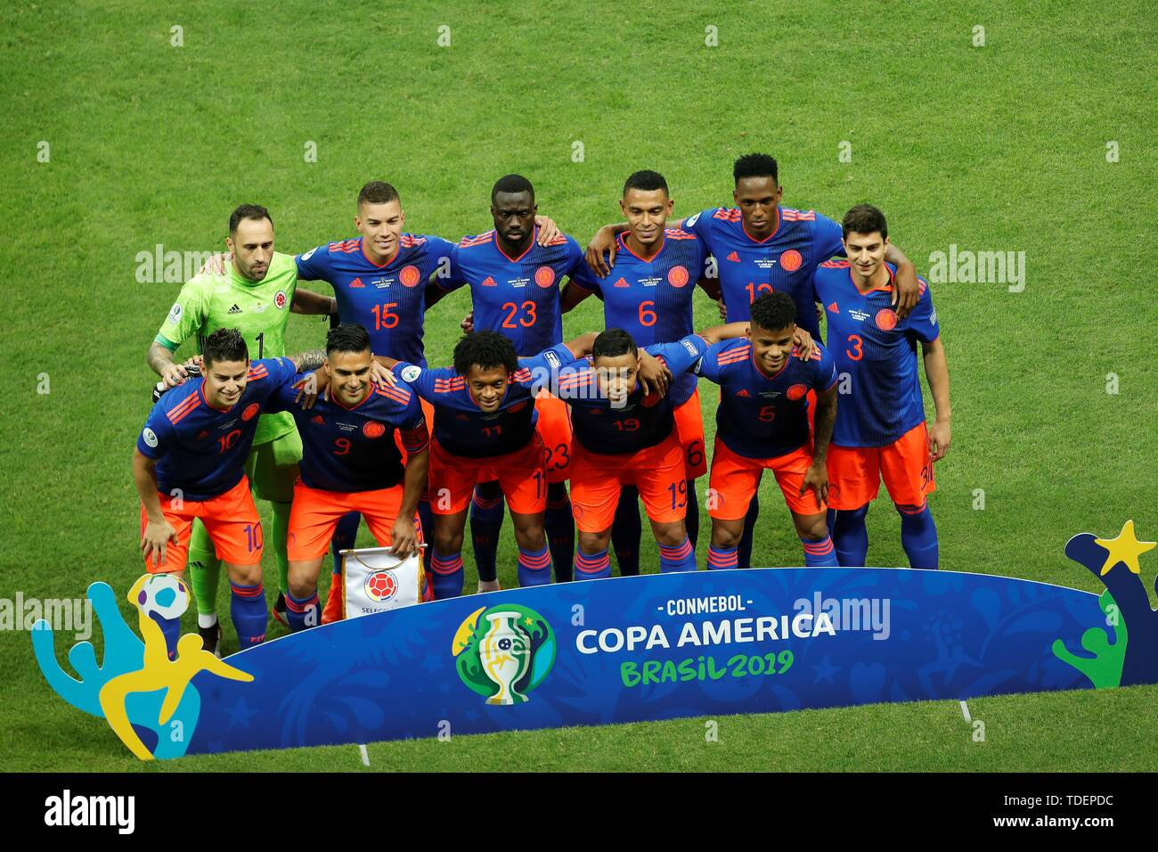 Salvador, Brazil. 15th June, 2019. Colombian players pose before the Copa America 2019 Group B soccer match between Argentina and Colombia, at Arena Fonte Nova Stadium in Salvador, Brazil, 15 June 2019. Credit: Joedson Alves/EFE/Alamy Live News Stock Photo