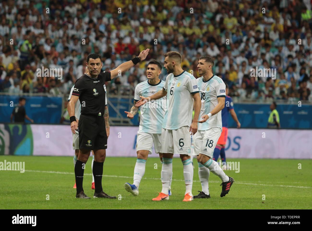 Salvador, Brazil. 15th June, 2019. Argentina v Colombia, valid for the 2019 Copa America group stage, held this Saturday (15th) at the Fonte Nova Arena in Salvador, Bahia, Brazil. Credit: Tiago Caldas/FotoArena/Alamy Live News Stock Photo
