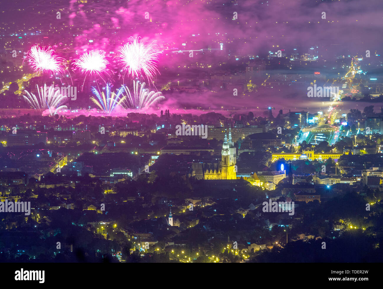 Zagreb. 14th June, 2019. Photo taken on June 14, 2019 shows fireworks during the 19th International Festival of Fireworks in Zagreb, Croatia. Credit: Igor Kralj/Xinhua/Alamy Live News Stock Photo