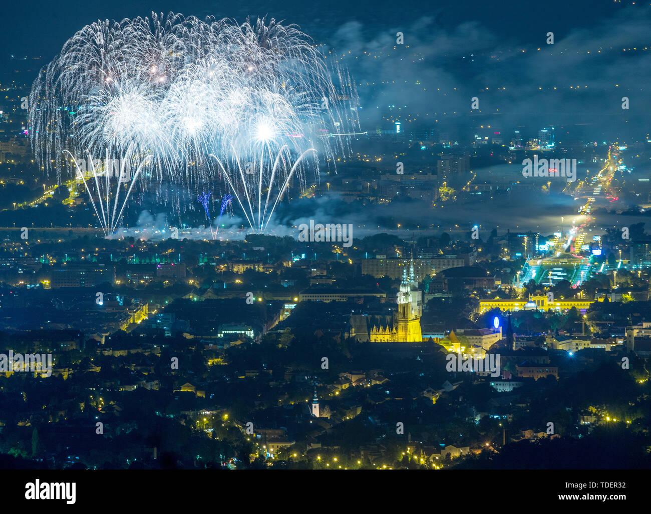 Zagreb. 14th June, 2019. Photo taken on June 14, 2019 shows fireworks during the 19th International Festival of Fireworks in Zagreb, Croatia. Credit: Igor Kralj/Xinhua/Alamy Live News Stock Photo