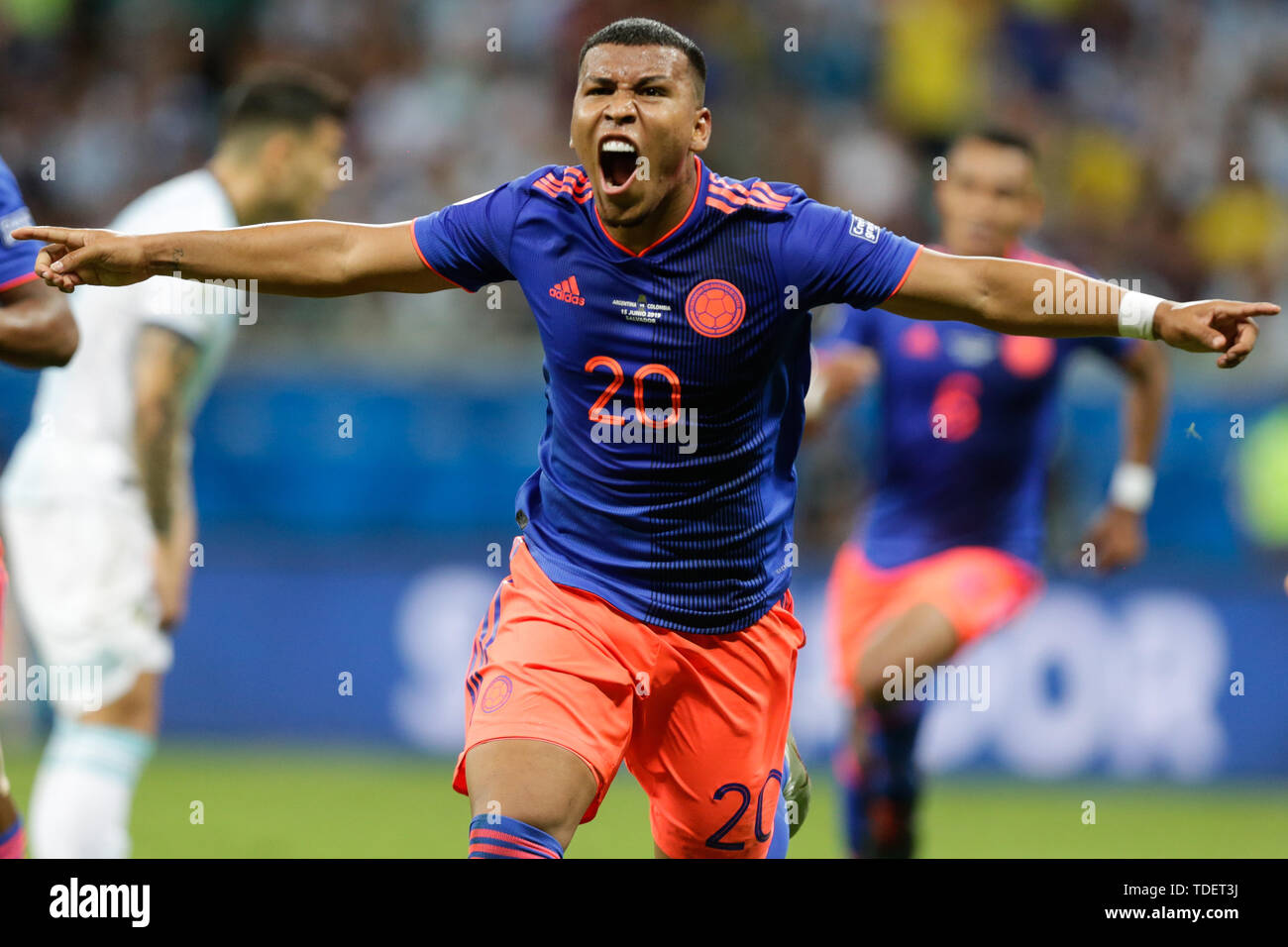 Salvador, Brazil. 15th June, 2019. Colombia's Roger Martinez(Front) celebrates a goal during the Copa America 2019 Group B match between Argentina and Colombia in Salvador, Brazil, June 15, 2019. Colombia won 2-0. Credit: Francisco Canedo/Xinhua/Alamy Live News Stock Photo