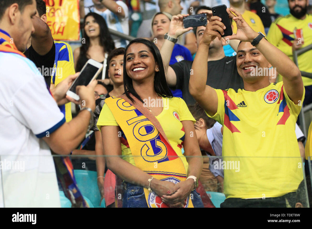 Salvador, Brazil. 15th June, 2019. Colombian fan during match between Argentina and Colombia, game 03, valid for the group phase of Copa América 2019, held this Saturday, 15, at the Arena Fonte Nova in Salvador, BA. Credit: Mauro Akiin Nassor/FotoArena/Alamy Live News Stock Photo