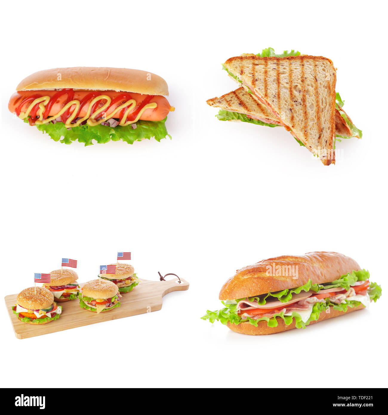 Junk fast food collage of burgers, sandwiches and hot-dogs isolated on white background - Stock Image