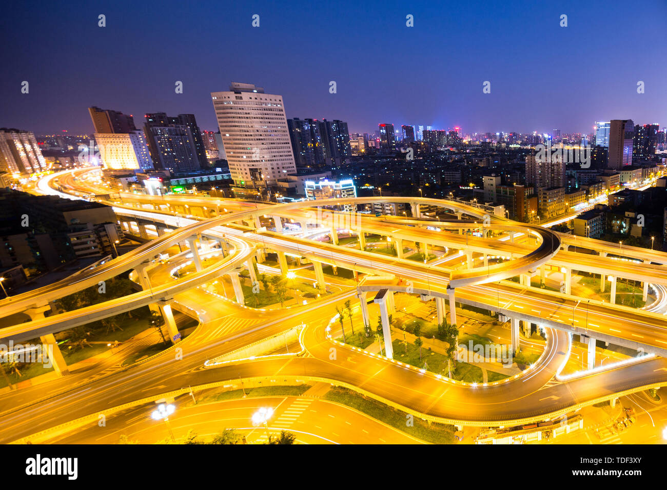 skyline and elevated roads - Stock Image