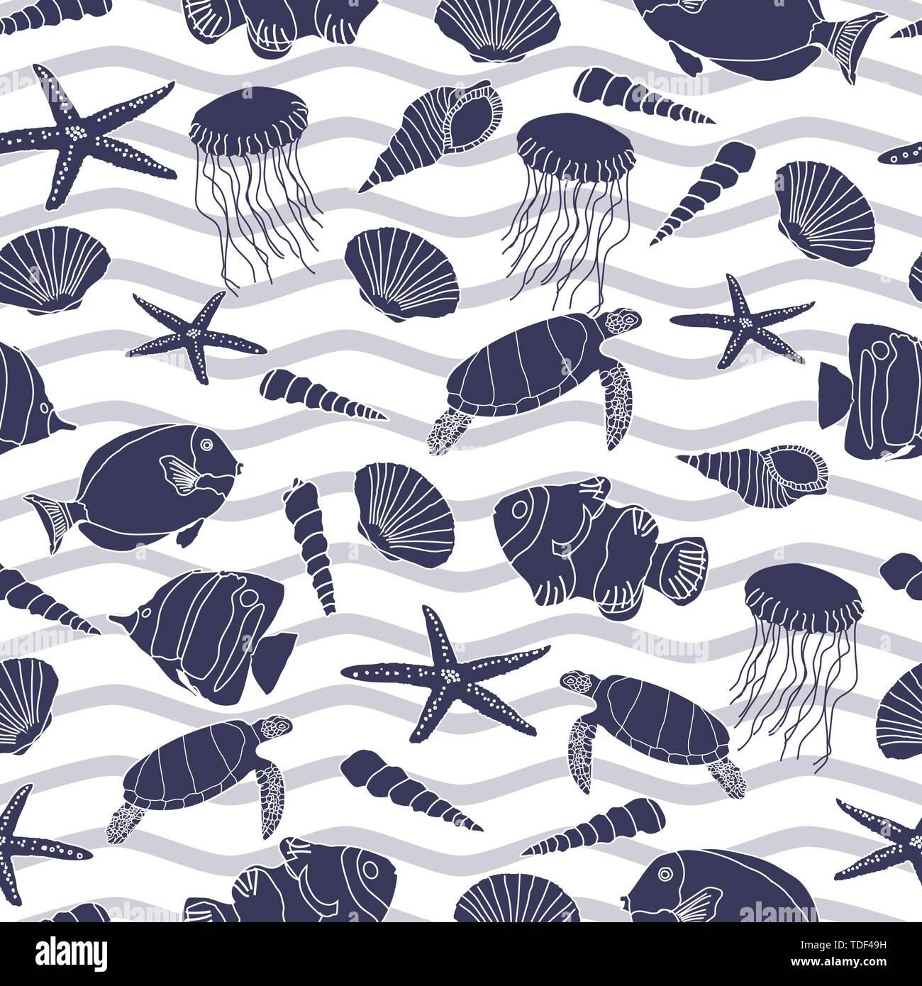 Cute hand drawn sea life seamless pattern background. - Stock Image