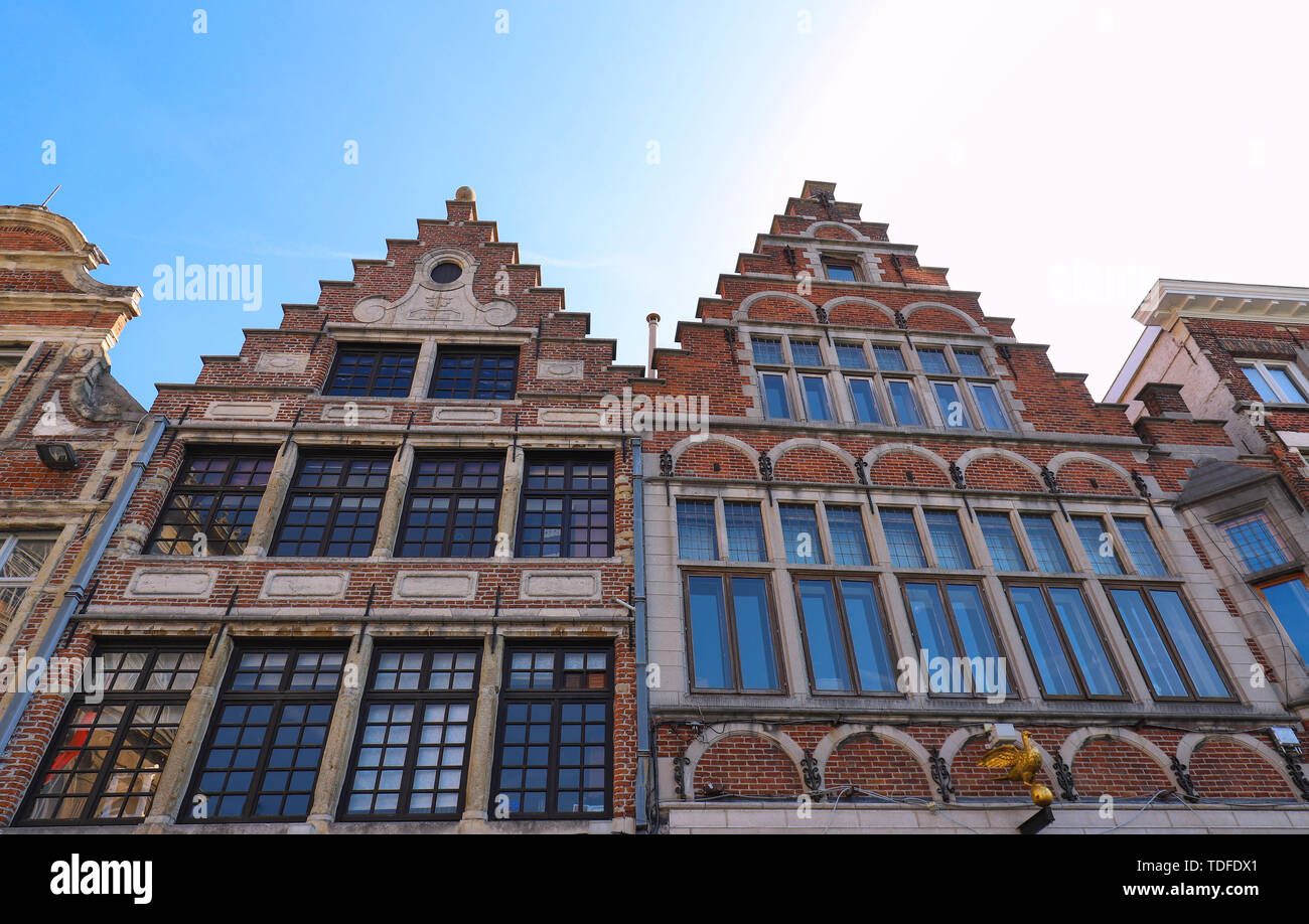 Traditional architecture with vivid facade of tall houses in Ghent. - Stock Image