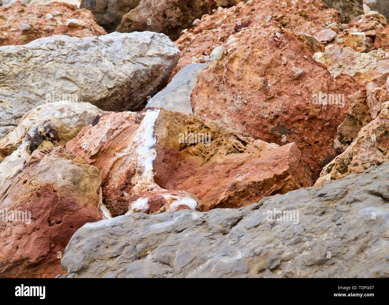 Macro of big red and orange rocks Stock Photo
