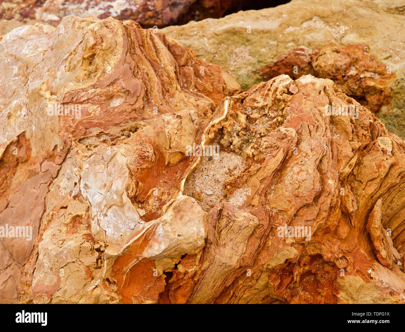 Macro of big red and orange rocks Stock Photo