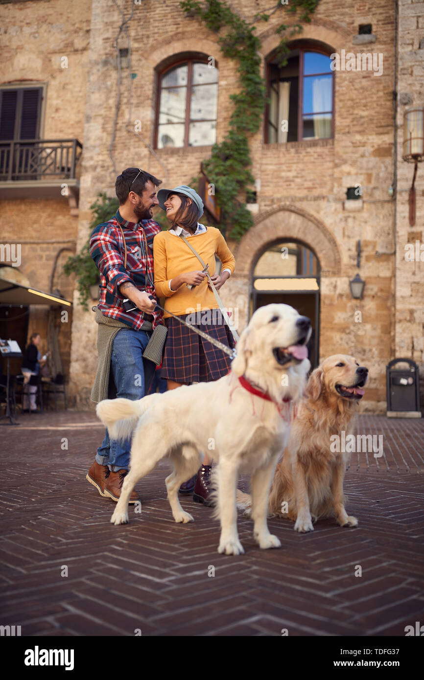 Happy young couple on travel vacation holidays and enjoying