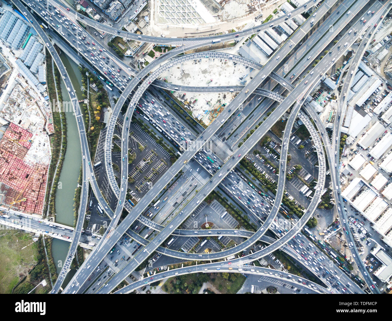 aerial view of busy road intersection in midtown of shanghai - Stock Image
