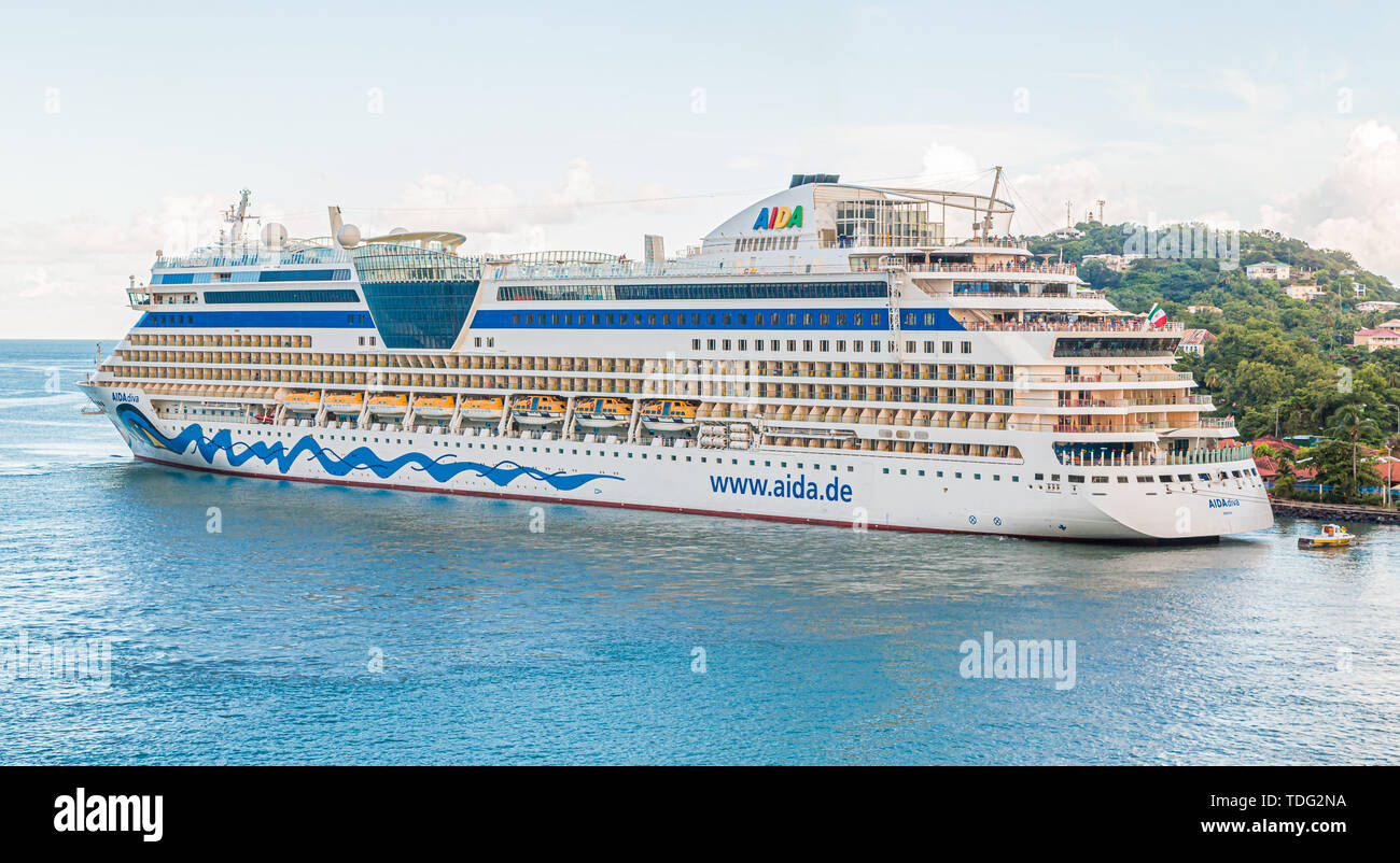 CASTRIES, ST LUCIA - November 21, 2016: AIDA Cruises is an American British-owned German cruise line based in Rostock, Germany. The company entered th Stock Photo