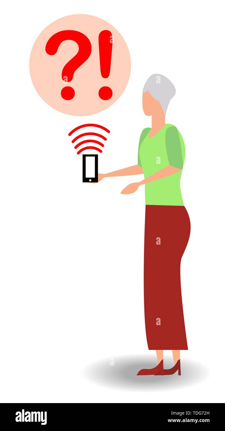 Elderly woman and smartphone, misunderstanding, the concept of the complexity of new technologies for the elderly. - Stock Image