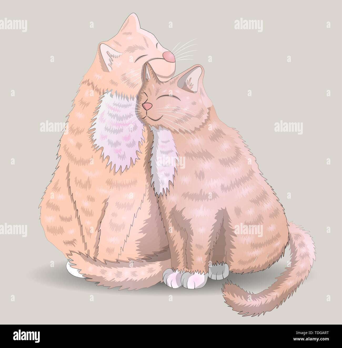 Two cats with hearts, the concept of love, romantic love, Valentine's Day - Stock Vector