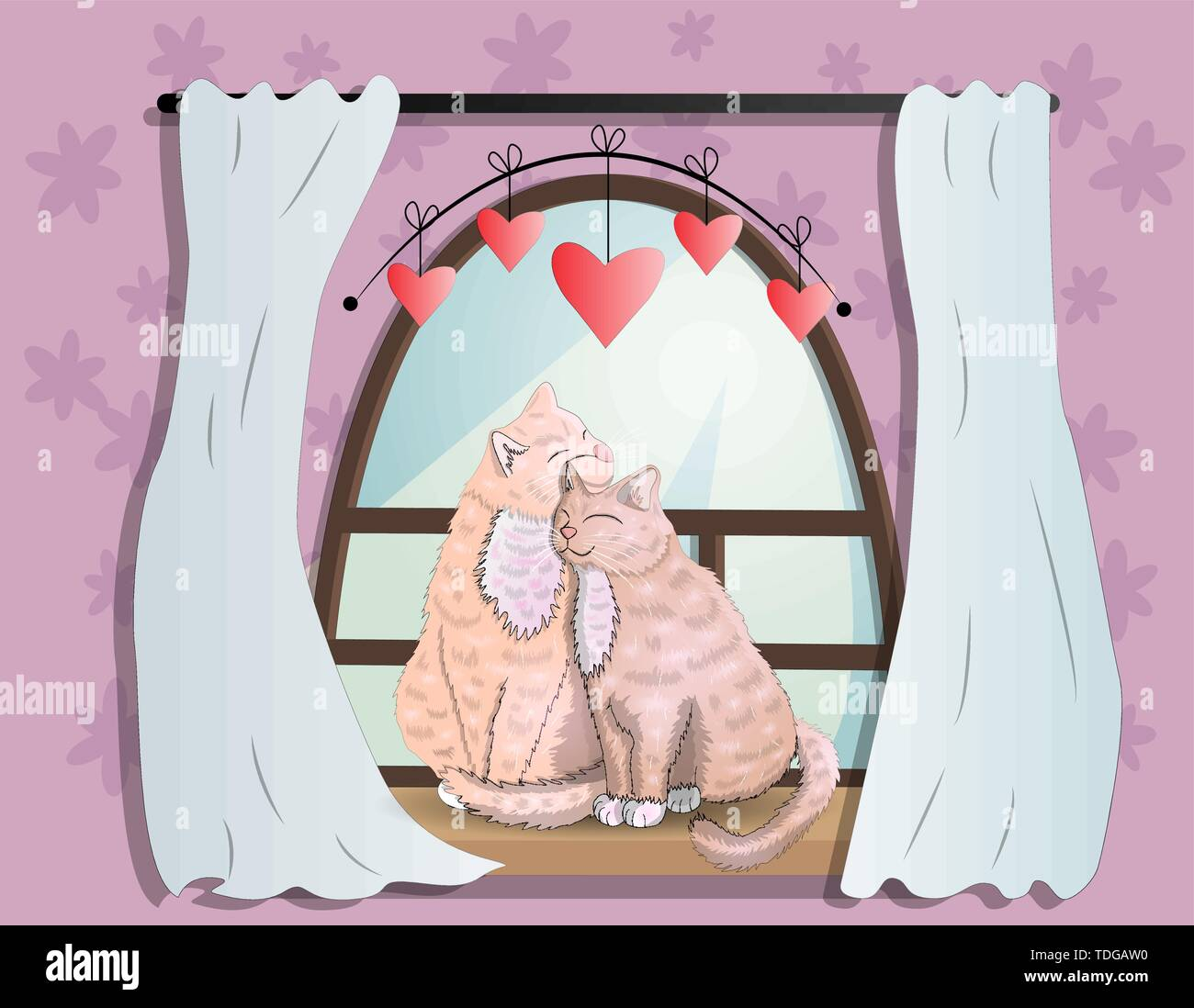 Two cats with heart shaped tails sitting on a windowsill in a room, cuddling each other and looking out a classic arched window in the daytime, celebr - Stock Image