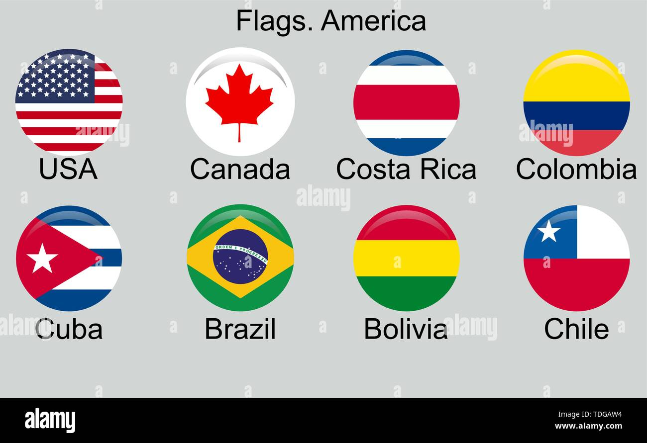 American countries flag set North, Central and South America - Stock Image