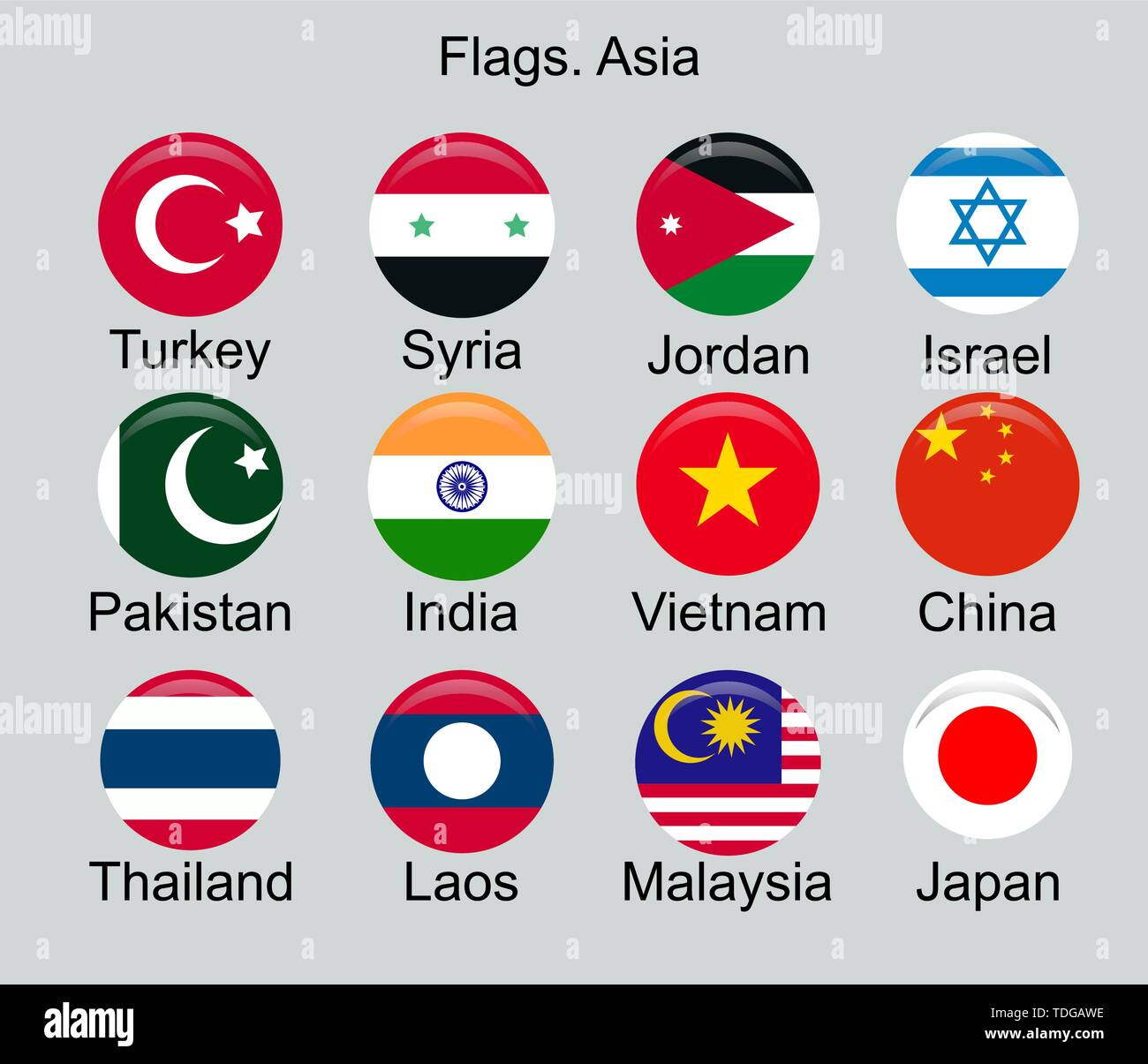 Flags of Asian Countries. Turkey, Pakistan, Syria, India, China, Japan, Laos, Thailand, Israel, and others. - Stock Vector