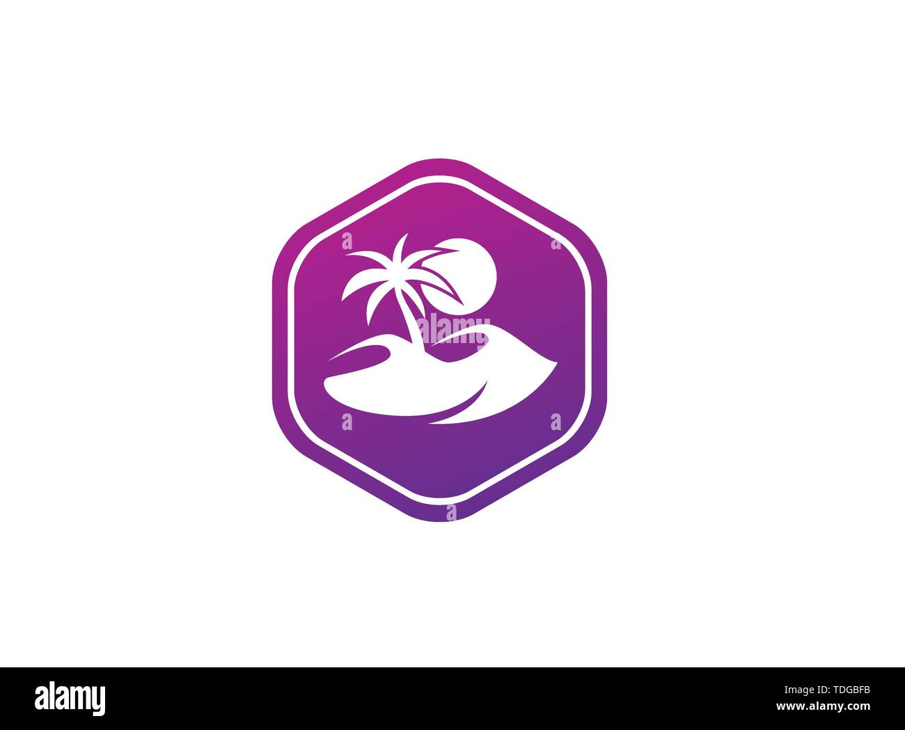 desert logo palm and sand and sun vector design illustration in the shape - Stock Image