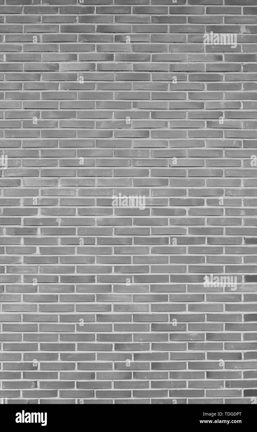 High resolution full frame background of detailed new brick wall in black and white. Stock Photo
