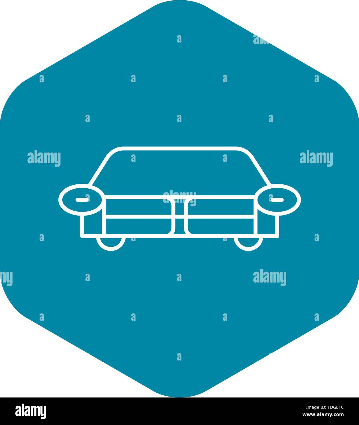 Living room sofa icon, outline style - Stock Image