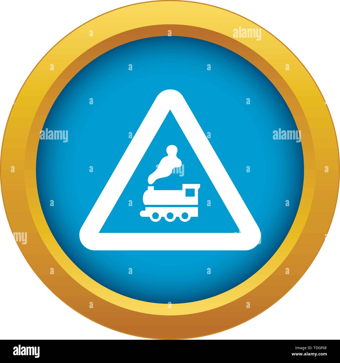 Warning sign railway crossing without barrier icon blue vector isolated - Stock Image