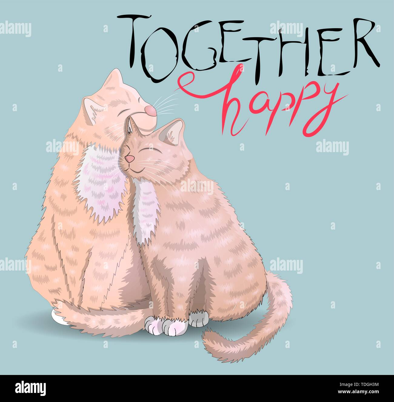 Two cats with hearts and an inscription I have for you Moore, the concept of love, romantic love, Valentine's Day - Stock Vector