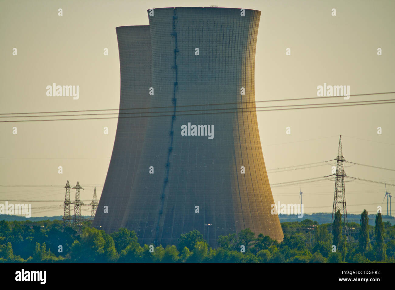 Cooling towers of nuclear power plant - Stock Image