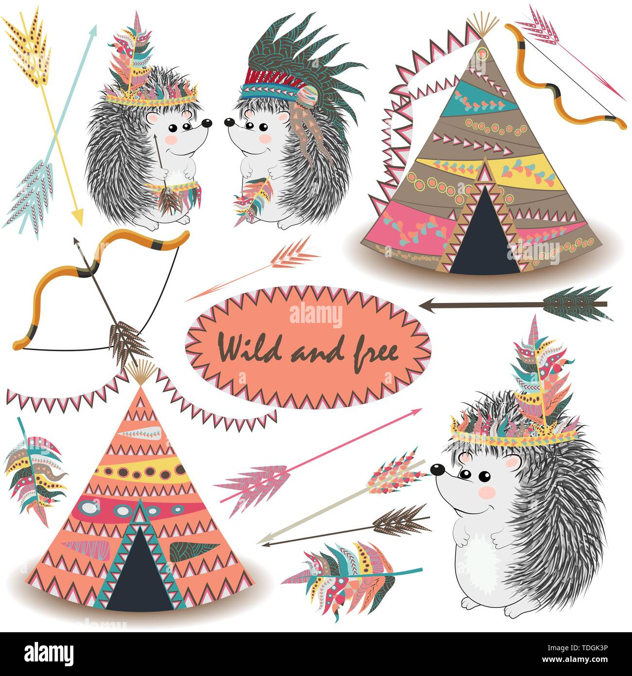 d14775671 Tribal Collections Set with teepee tens, arrows, feathers, tribal borders,  Indian hedgehog