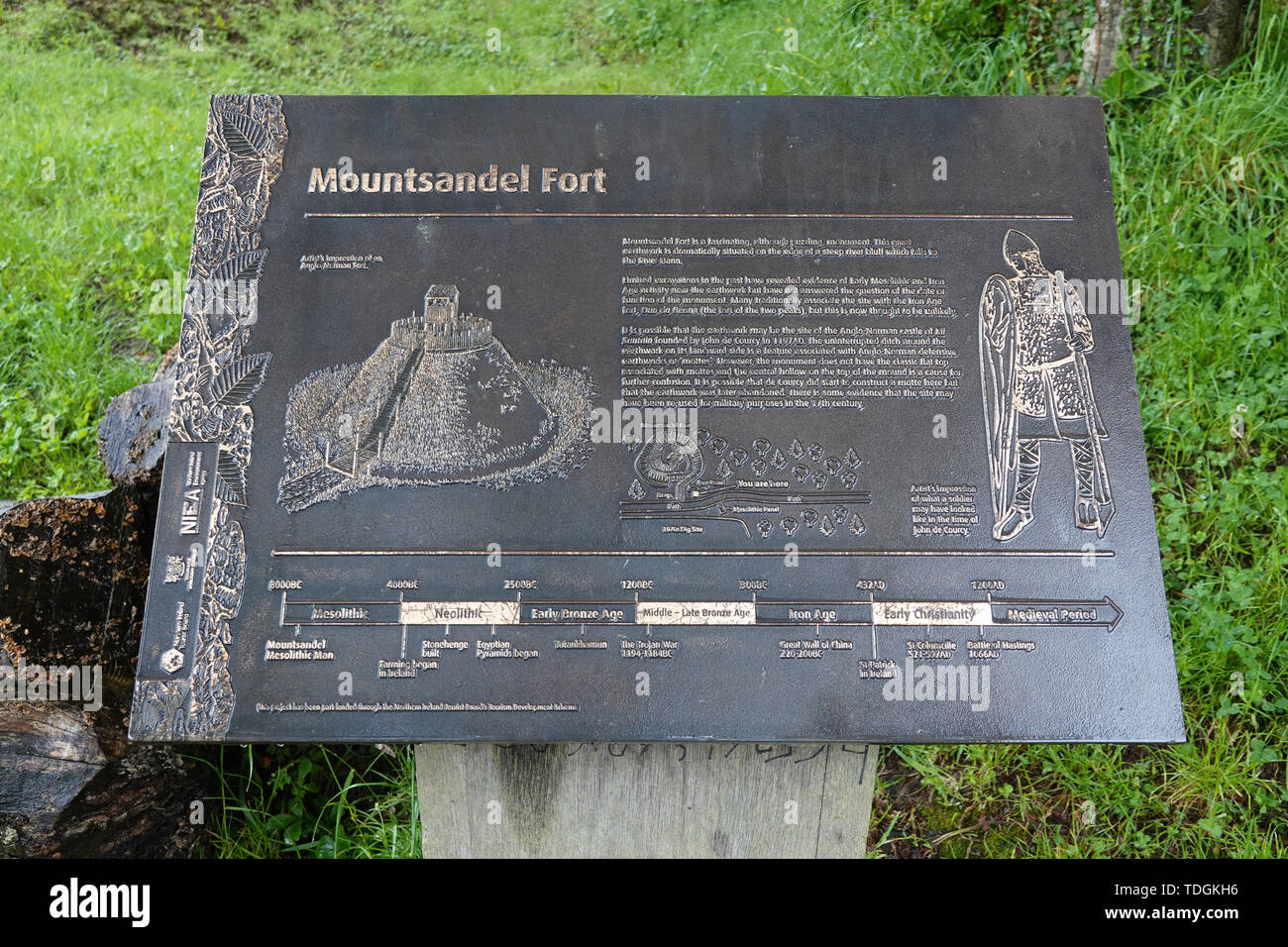 Coleraine, Northern Ireland - June 5, 2019: A metal plaque is shown describing the known history of the ancient Mountsandel Fort site. - Stock Image