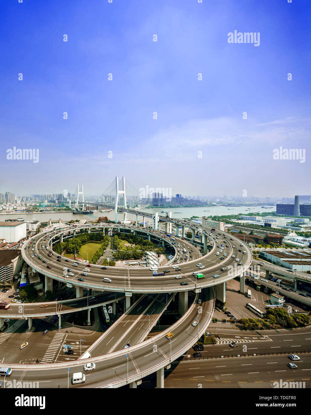 skyline and road intersection in shanghai - Stock Image