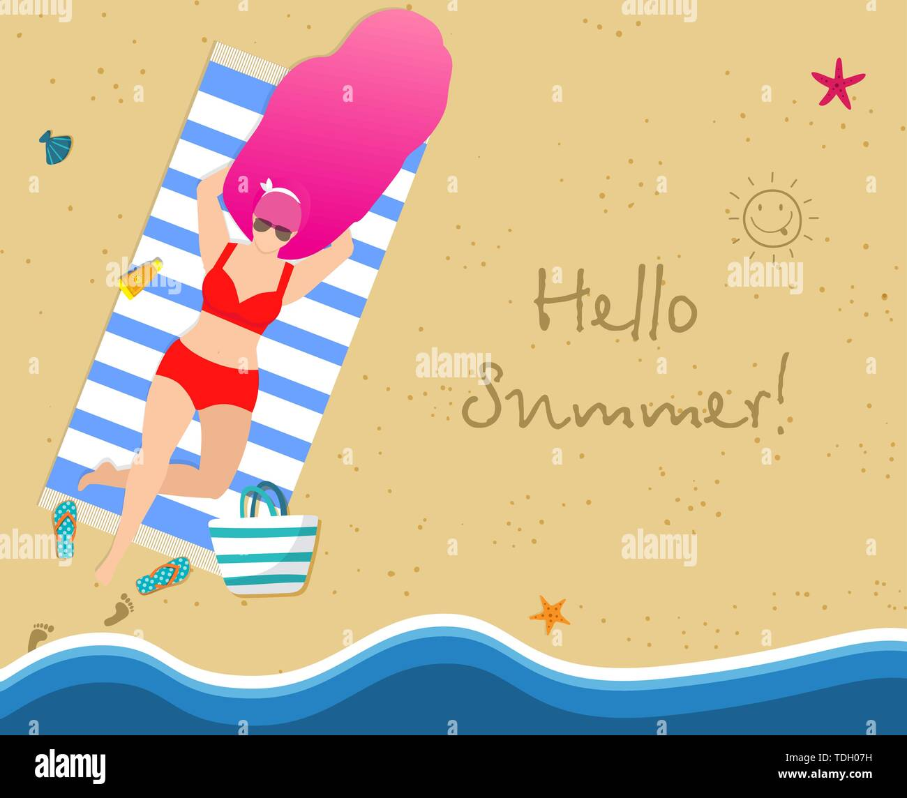 Woman on Beach Tanning. Beautiful Girl in Red Bikini Top View Relaxing on Seaside. Summertime Vacation,Holiday, Recreation. Character Rest on Resort C - Stock Vector