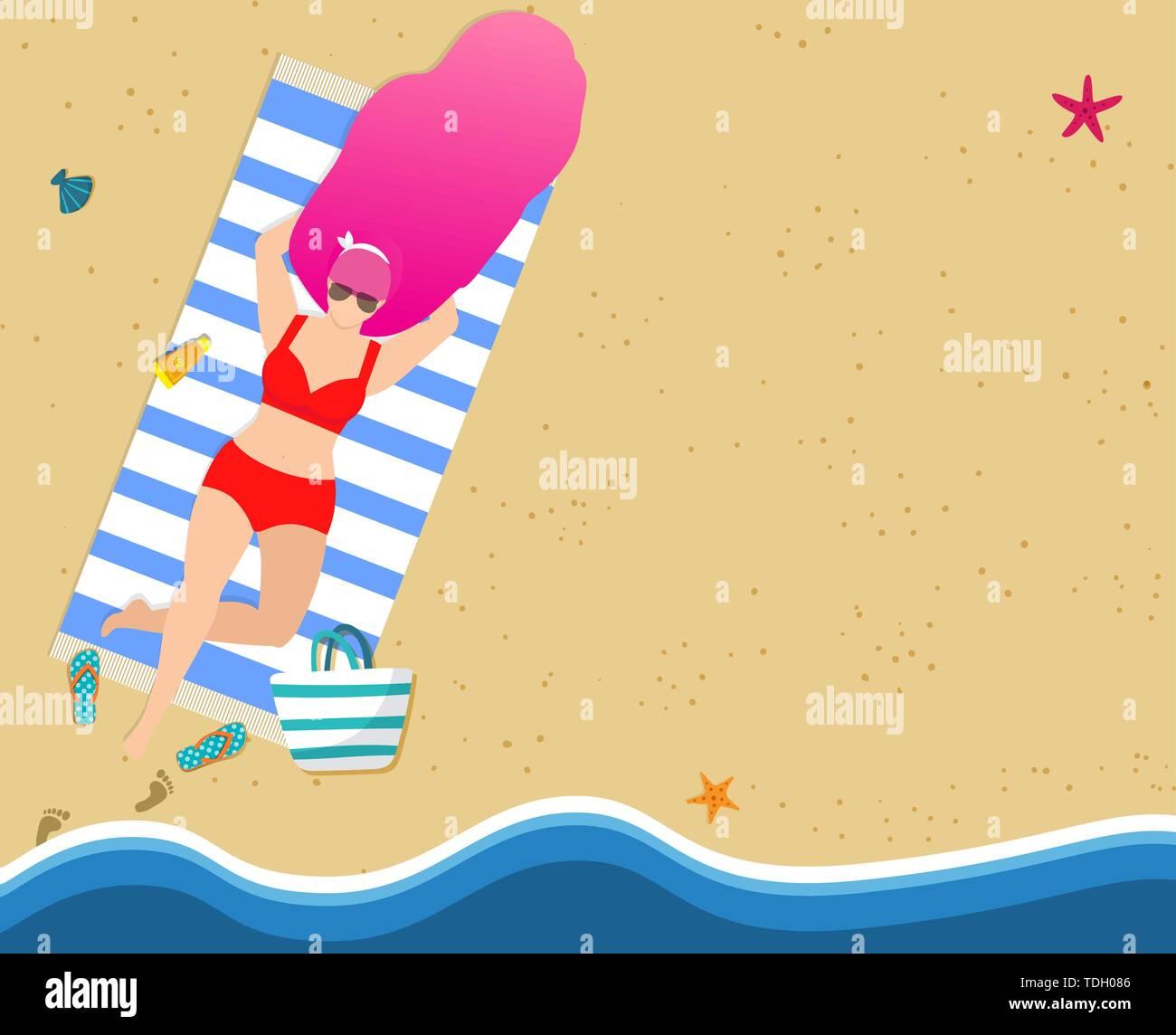 Woman on Summer Beach. Girl in Red Bikini Burn and Relaxing on Sandy Seaside. Summertime Poster Design, Leisure, Resort Sparetime. Female Character Re - Stock Vector