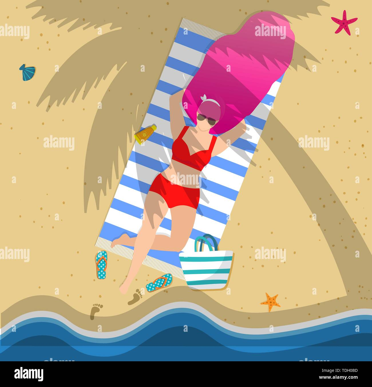 Woman on Beach Under Palm Tree. Summer Time Vacation, Leisure, Beautiful Girl Character in Sunglasses and Bikini Relaxing on Sandy Seaside. Resort Spa - Stock Vector