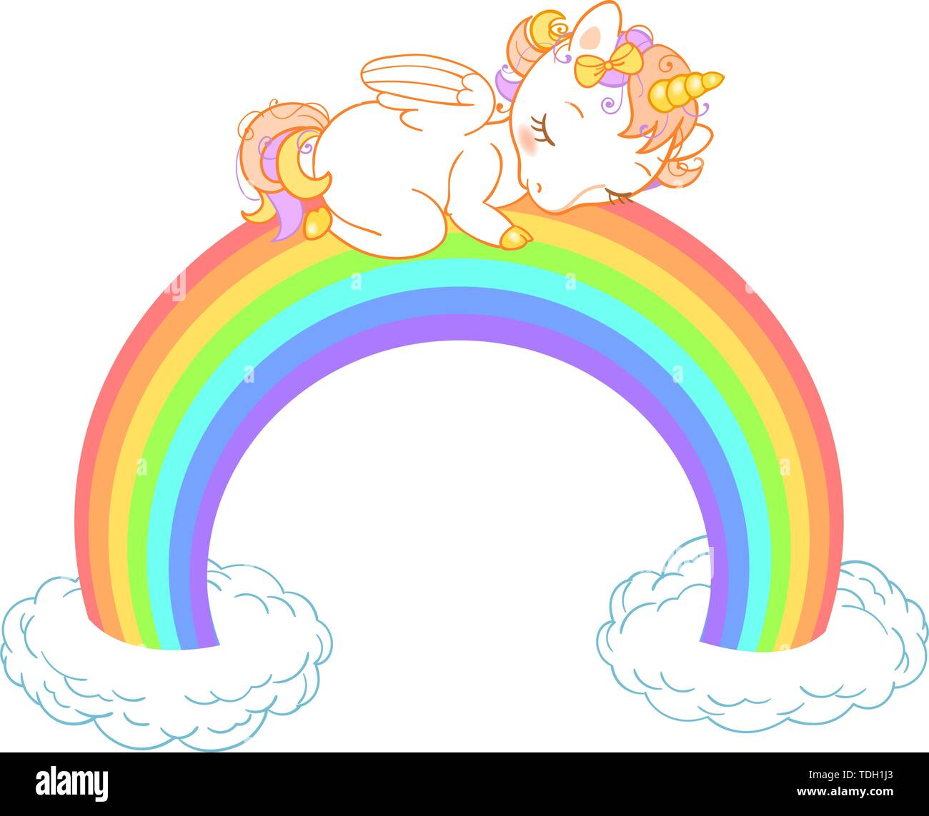 Cute baby unicorn sleeping on the rainbow with clouds  Vector