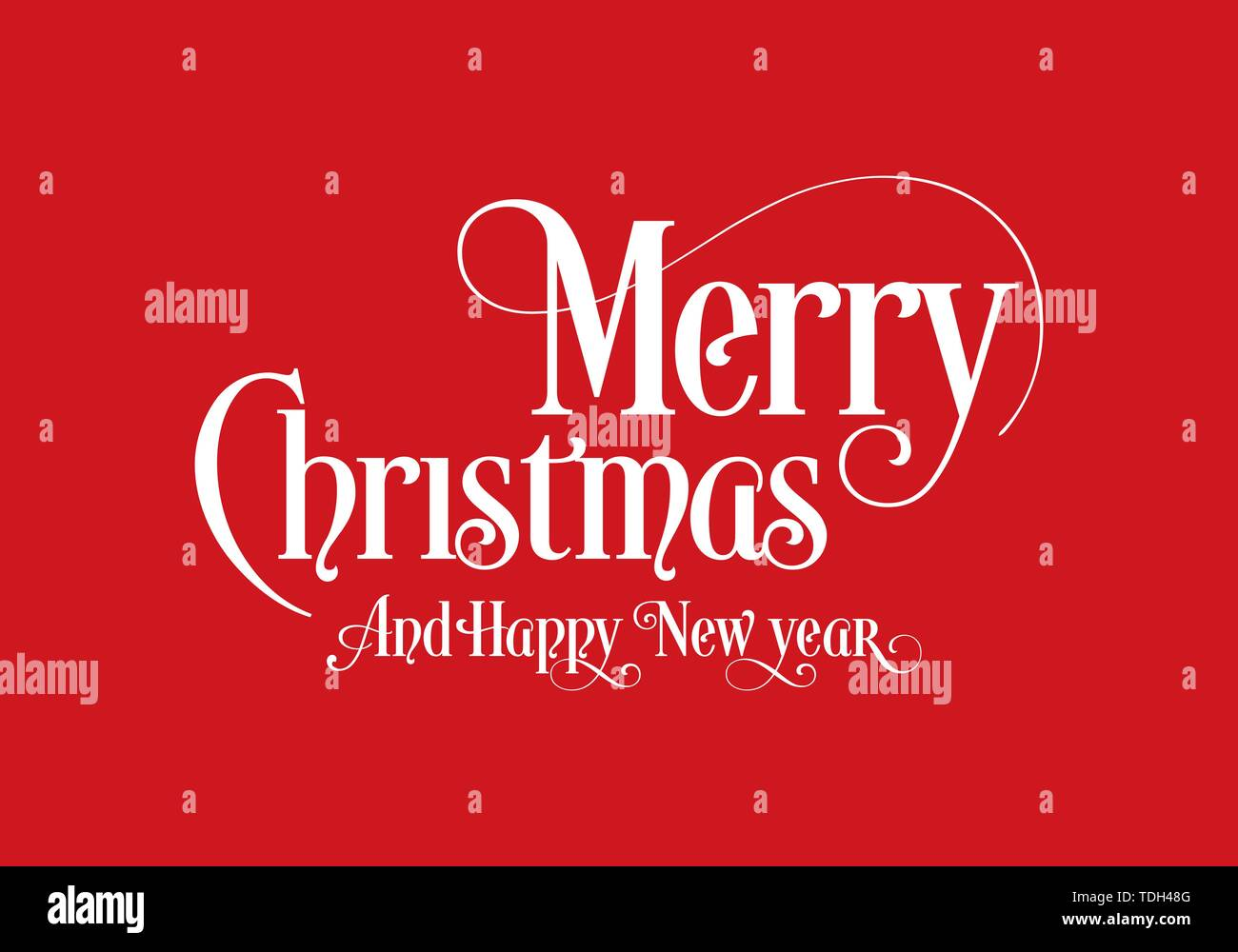 Happy Christmas Lettering Calligraphy Text Art Design With Red Background. Merry Christmas Text Design Vector Logo, Typography. - Stock Image