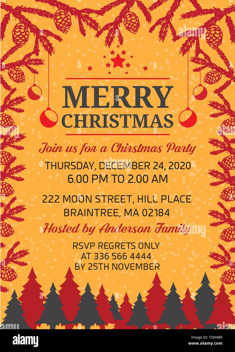 Merry Christmas Vector Invitation Design Template. Creative Typography for Holiday Greeting Gift Poster. Stock Vector