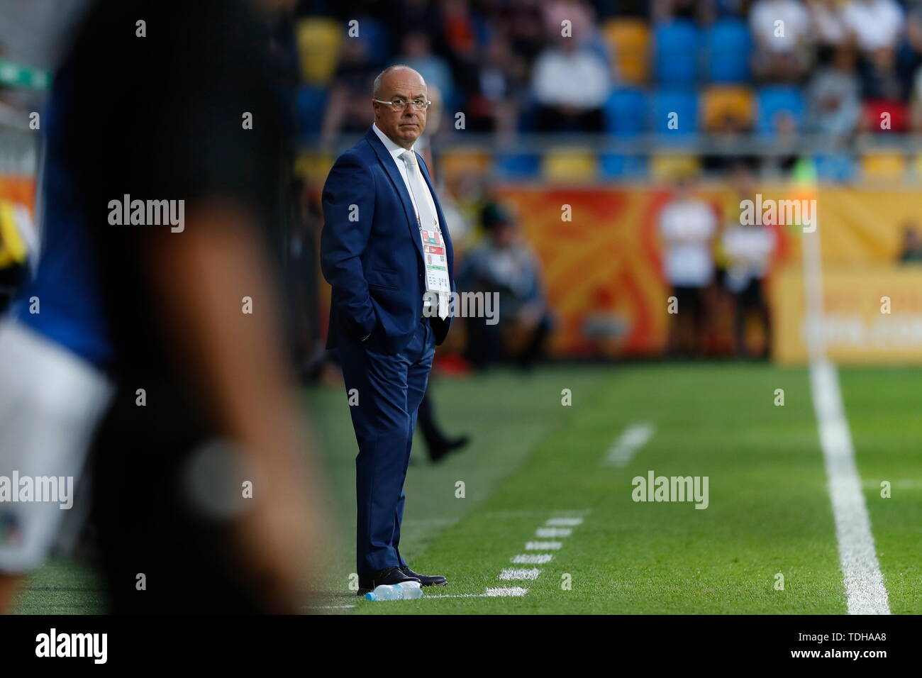 Gdynia, Poland. 14th June, 2019. Jorge Celico (ARG) Football/Soccer : Ecuador head coach Jorge Celico of Argentina during FIFA U-20 World Cup Poland 2019 match for 3rd place between Italy 0-1 Ecuador at the Gdynia Stadium in Gdynia, Poland . Credit: Mutsu KAWAMORI/AFLO/Alamy Live News Stock Photo