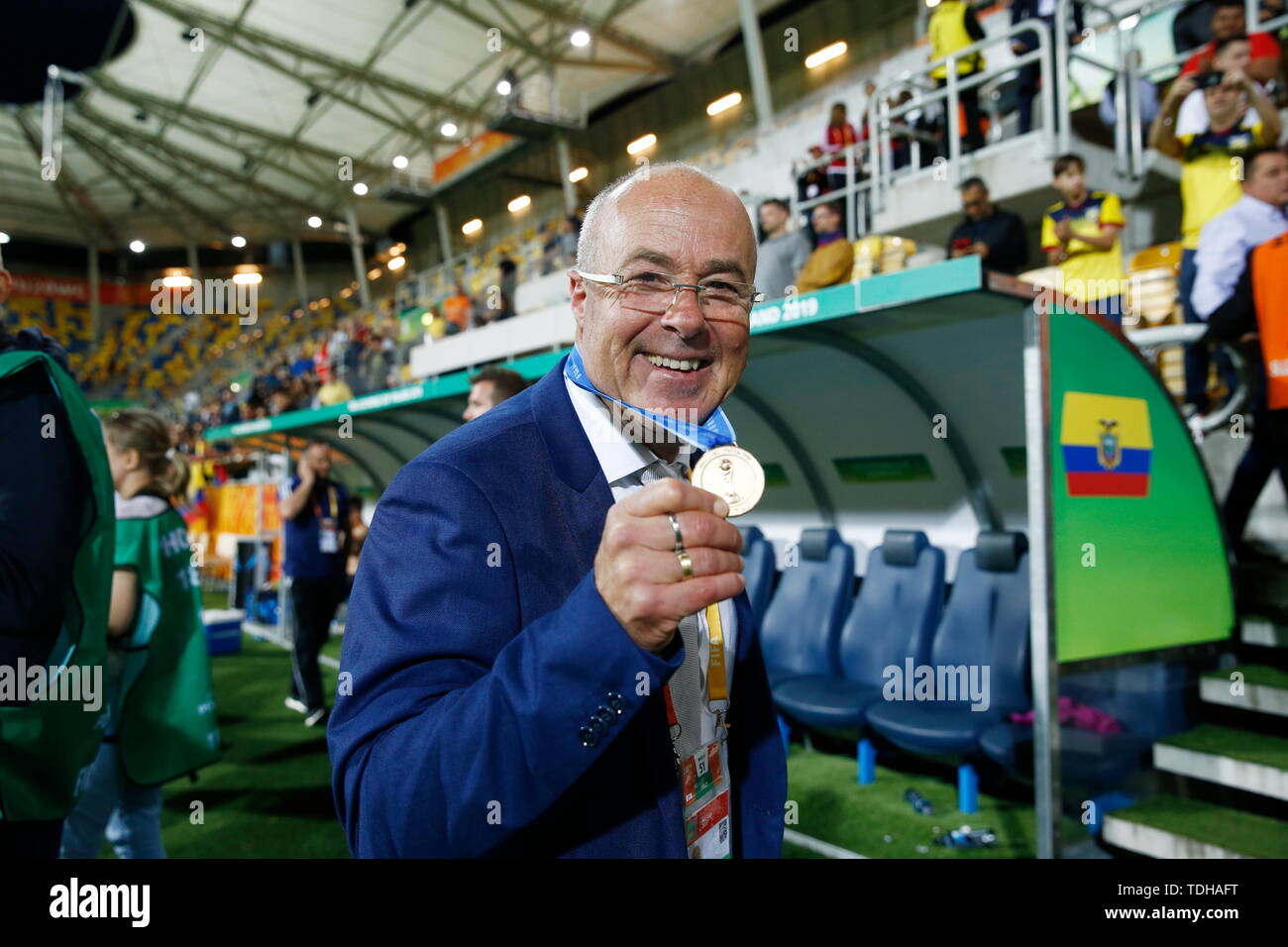 Jorge Celico (ARG), JUN 14, 2019 - Football / Soccer : Ecuador head coach Jorge Celico of Argentina celebrate after winning FIFA U-20 World Cup Poland 2019 match for 3rd place between Italy 0-1 Ecuador at the Gdynia Stadium in Gdynia, Poland. (Photo by Mutsu KAWAMORI/AFLO) - Stock Image