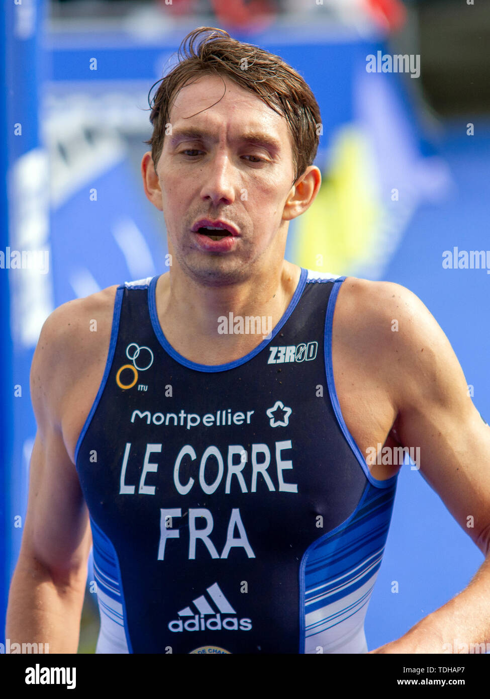 Nottingham, UK. 15th June, 2019. Pierre Le Corre of France seen during the 2019 Accenture World Triathlon Mixed Relay (Duathlon) in Nottingham. Credit: SOPA Images Limited/Alamy Live News - Stock Image