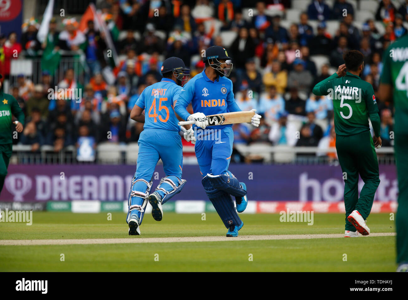 Old Trafford, Manchester, UK. 16th June, 2019. ICC World Cup Cricket, India versus Pakistan; KL Rahul and Rohit Sharma of India take a quick single Credit: Action Plus Sports/Alamy Live News - Stock Image
