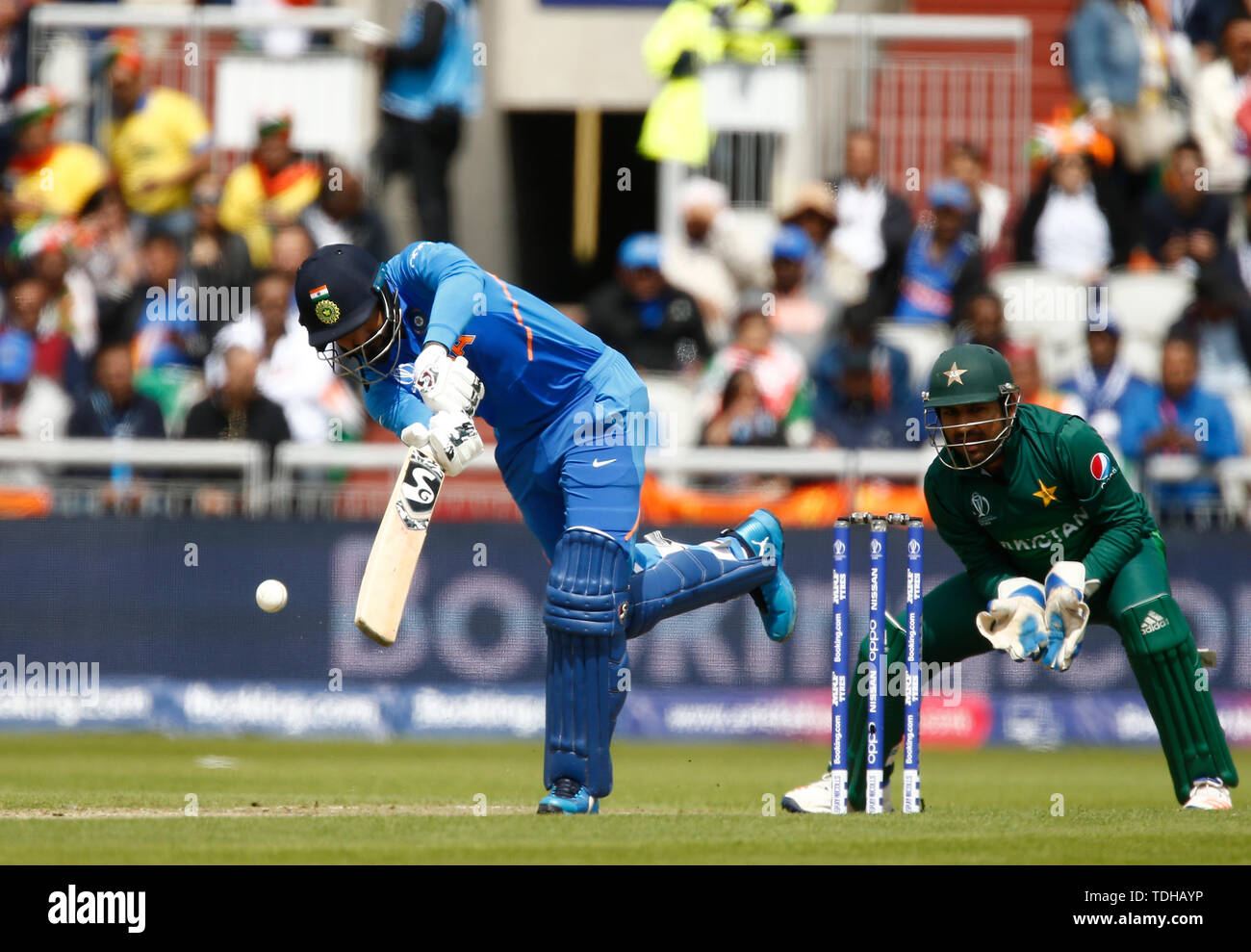 Old Trafford, Manchester, UK. 16th June, 2019. ICC World Cup Cricket, India versus Pakistan; KL Rahul of India plays a straight drive through the covers Credit: Action Plus Sports/Alamy Live News - Stock Image