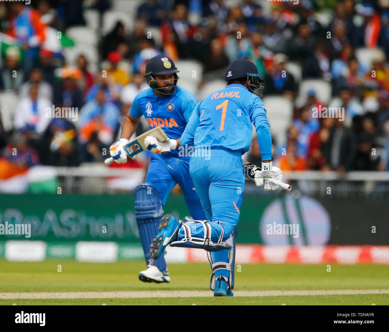 Old Trafford, Manchester, UK. 16th June, 2019. ICC World Cup Cricket, India versus Pakistan; KL Rahul and Rohit Sharma of India celebrate their century opening wicket partnership Credit: Action Plus Sports/Alamy Live News Stock Photo