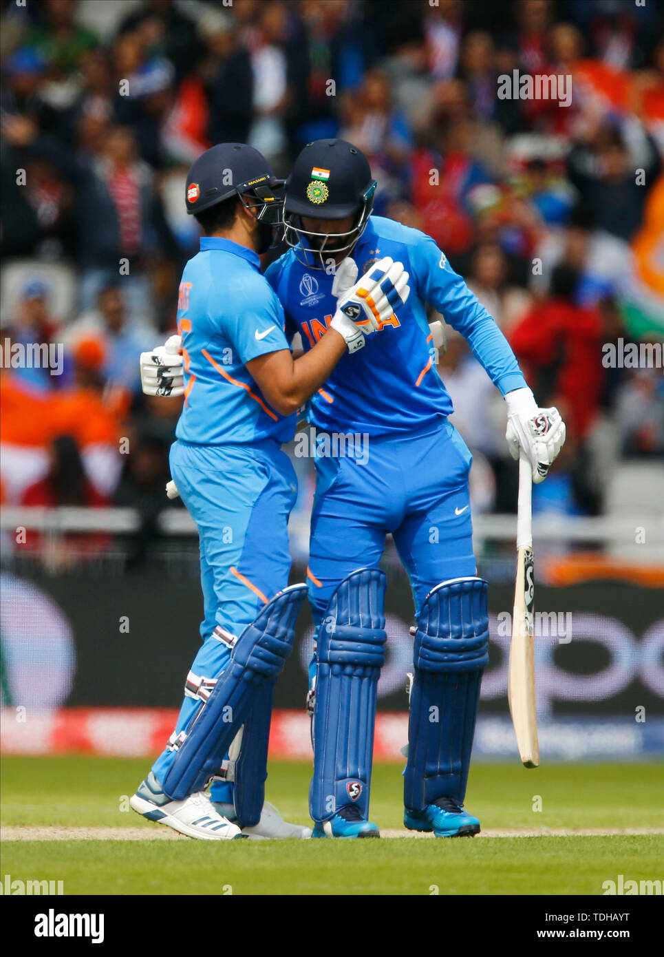 Old Trafford, Manchester, UK. 16th June, 2019. ICC World Cup Cricket, India versus Pakistan; KL Rahul and Rohit Sharma of India celebrate their century opening wicket partnership Credit: Action Plus Sports/Alamy Live News - Stock Image